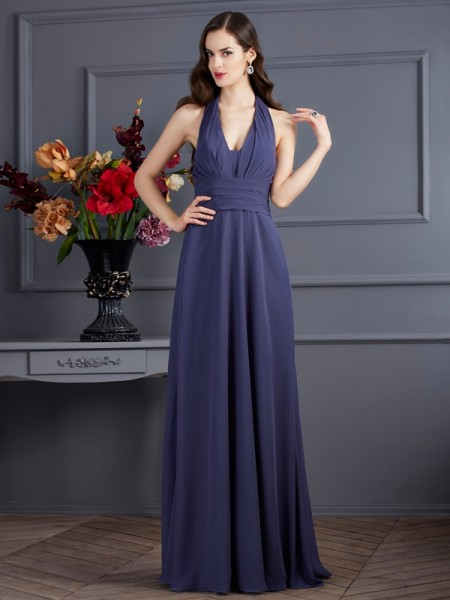 A-Line/Princess Halter Sleeveless Chiffon Long Dresses with Pleats