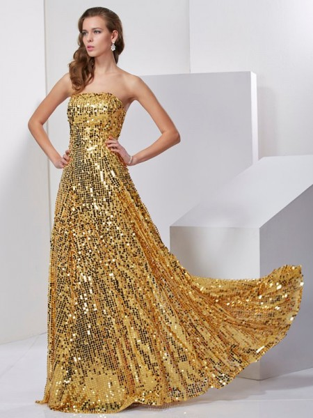Sleeveless Strapless A-Line/Princess Floor-Length Satin Long Prom/Evening Dresses