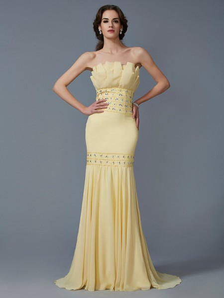 Trumpet/Mermaid Strapless Sleeveless Sweep/Brush Train Chiffon Dresses with Beading