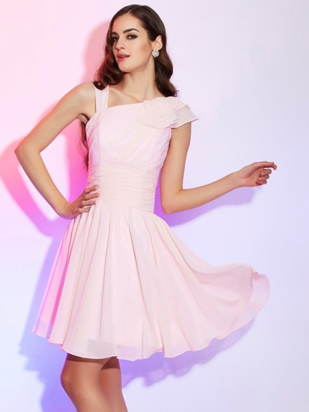 A-Line/Princess Sleeveless Chiffon Short Cocktail/Homecoming Dresses with Pleats