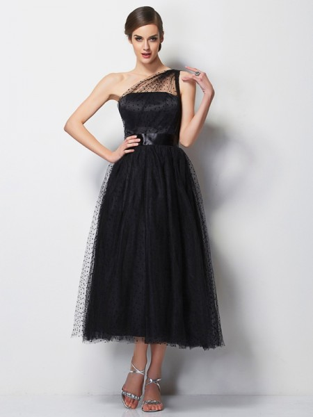 A-Line/Princess One-Shoulder Sleeveless Elastic Woven Satin Tea-Length Dresses with Pleats