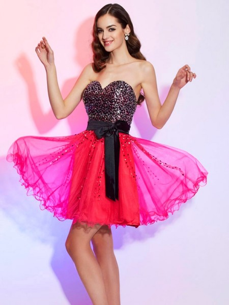 A-Line/Princess Sweetheart Sleeveless Organza Short Cocktail/Homecoming Dresses