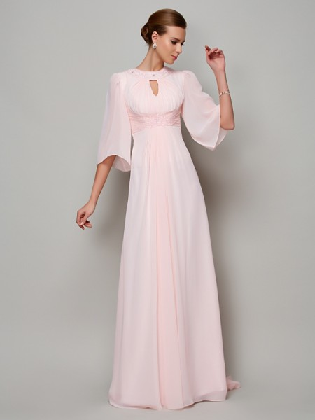 A-Line/Princess 1/2 Sleeves High Neck Sweep/Brush Train Chiffon Dresses with Beading
