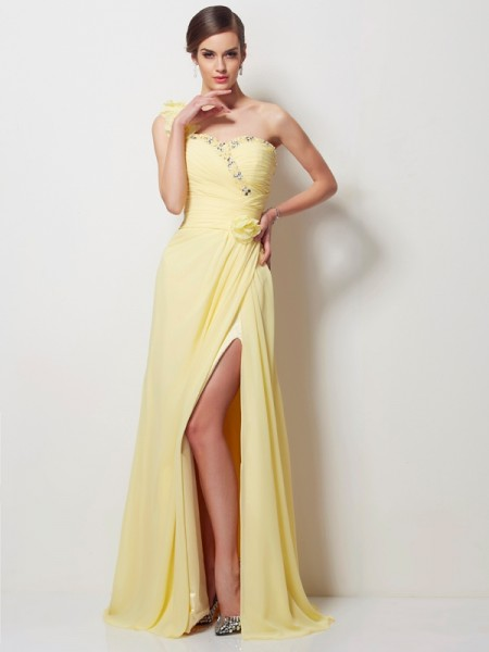 A-Line/Princess One-Shoulder Sleeveless Chiffon Long Prom/Evening Dresses with Beading