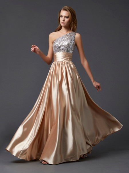 A-line/Princess Sleeveless One-shoulder Floor-length Paillette Elastic Woven Satin Dresses