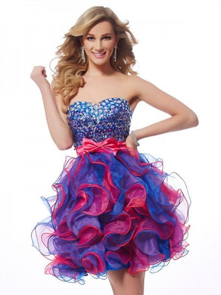 A-Line/Princess Sweetheart Sleeveless Short/Mini Organza Sequin Dresses