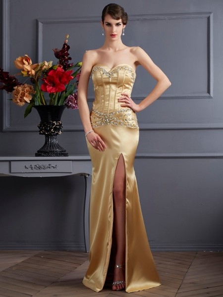Sheath/Column Sweetheart Sleeveless Sweep/Brush Train Elastic Woven Satin Dresses with Beading