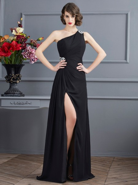 Sheath/Column One-Shoulder Sleeveless Floor-Length Chiffon Dresses with Beading
