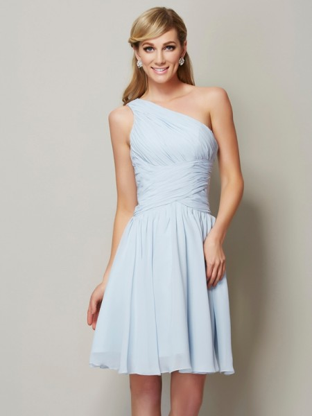 A-Line/Princess One-Shoulder Sleeveless Short/Mini Chiffon Bridesmaid Dresses with Ruched