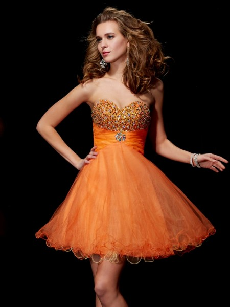 A-Line/Princess Strapless Sweetheart Organza Satin Short Cocktail/Homecoming Dresses with Beading