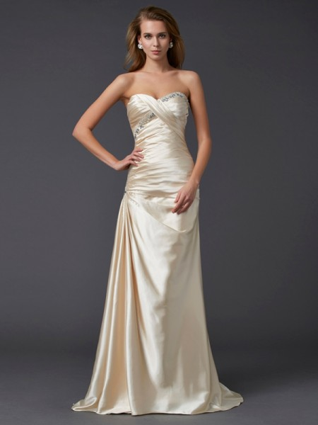 Sheath/Column Sleeveless Sweetheart Elastic Woven Satin Sweep/Brush Train Dresses with Beading