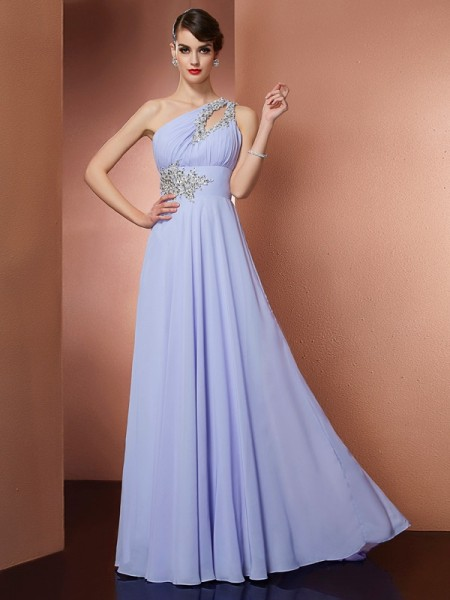 A-Line/Princess One-Shoulder Sleeveless Sweep/Brush Train Chiffon Dresses with Applique with Beading