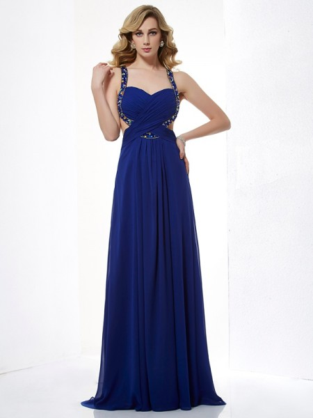 A-Line/Princess Halter Sleeveless Floor-Length Chiffon Prom/Evening/Formal Dresses with Beading