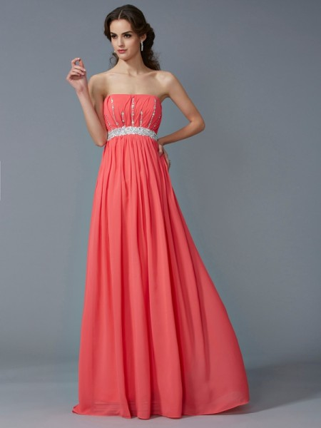 A-Line Strapless Sleeveless Chiffon Long Dresses with Beading
