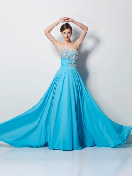 A-Line Sweetheart Chiffon Sweep/Brush Train Evening/Prom/Formal Dresses with Beaded