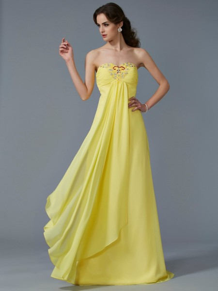 A-Line Sweetheart Chiffon Sweep/Brush Train Evening/Prom/Formal Dresses with Beading
