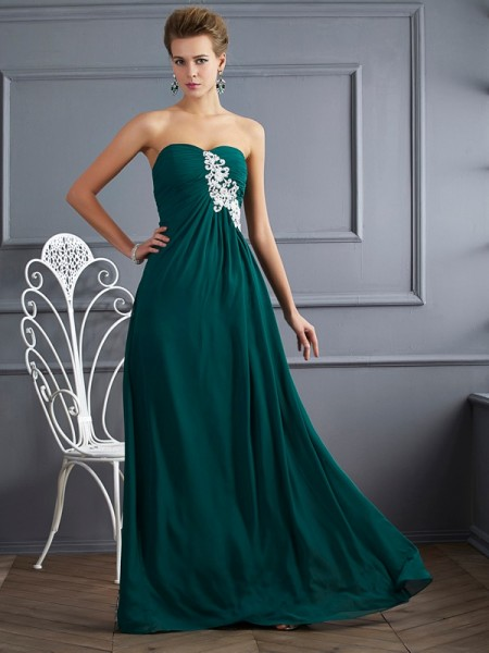 Sheath/Column Sweetheart Sleeveless Floor-length Chiffon Dresses with Beading