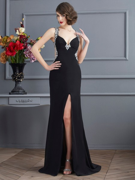 Sheath/Column Straps Sleeveless Sweep/Brush Train Chiffon Prom/Evening Dresses with Beading