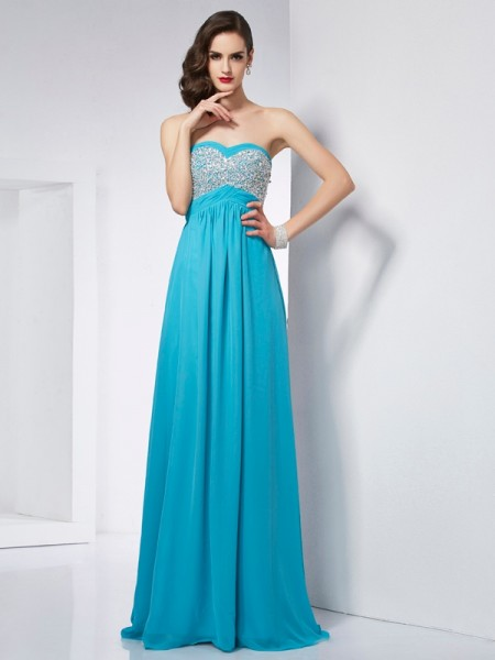 A-Line/Princess Sweetheart Sleeveless Chiffon Long Dresses