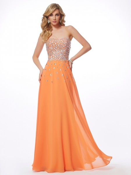 A-Line Sweetheart Sleeveless Floor-Length Chiffon Evening/Prom/Formal Dresses