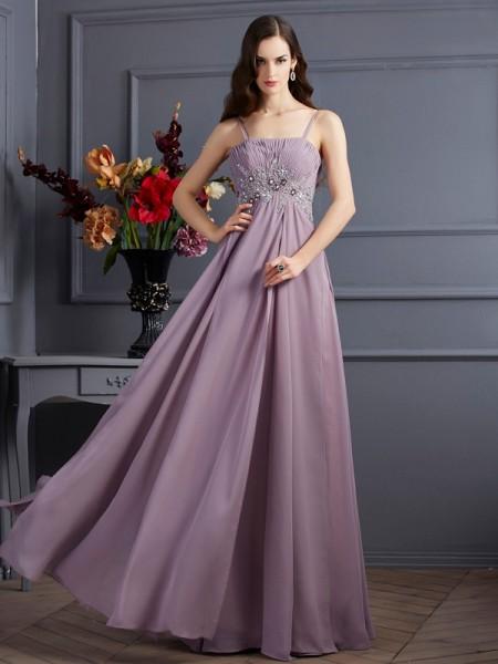 Empire Spaghetti Straps Sleeveless Floor-Length Chiffon Dresses with Beading