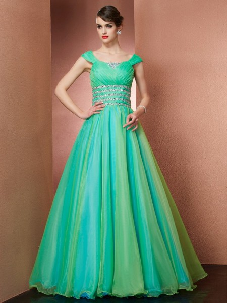 A-line/Princess Scoop Sleeveless Floor-length Organza Dresses with Beading