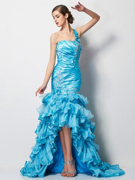 Trumpet/Mermaid One-Shoulder Sleeveless Asymmetrical Taffeta Dresses with Beading