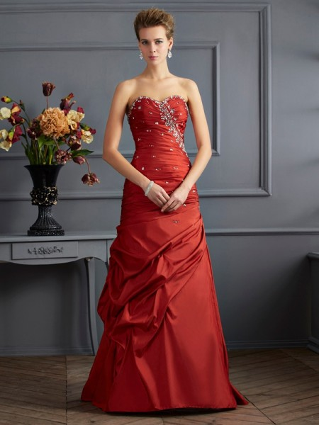 Trumpet/Mermaid Sweetheart Sleeveless Floor-length Taffeta Dresses with Beading