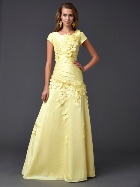 Sheath/Column Short Sleeves Scoop Floor-length Taffeta Prom/Evening Dresses
