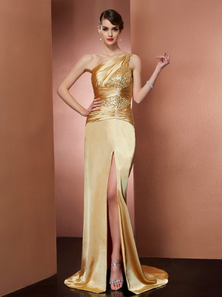 Sheath/Column One-Shoulder Sleeveless Elastic Woven Satin Sweep/Brush Train Dresses with Beading
