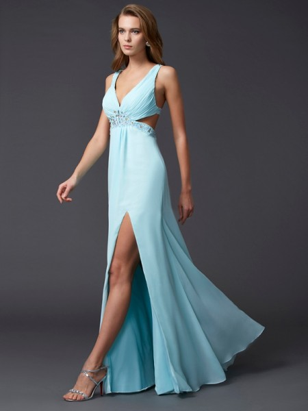 Sheath/Column V-neck Sleeveless Floor-length Chiffon Dresses with Beading