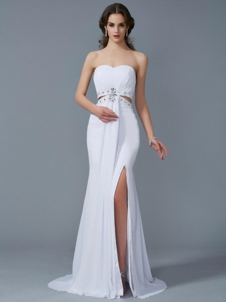 Sheath Sweetheart Sleeveless Sweep/Brush Train Chiffon Prom/Evening Dresses with Beading