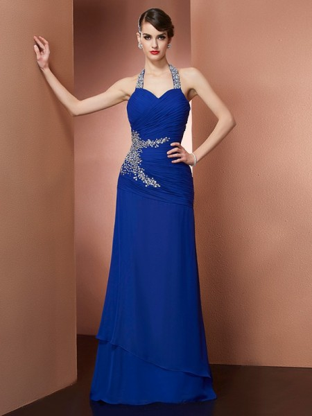 Sheath/Column Halter Sleeveless Chiffon Long Dresses with Beading