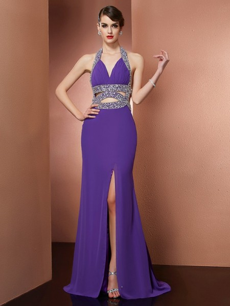 A-Line/Princess Halter Sleeveless Sweep/Brush Train Chiffon Prom/Evening Dresses with Beading