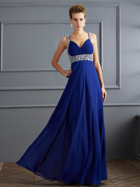 Sheath/Column Straps Sleeveless Floor-length Chiffon Prom/Evening/Formal Dresses with Beading