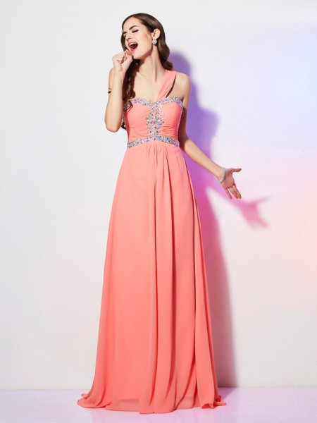 A-Line/Princess Sleeveless One-Shoulder Sweep/Brush Train Chiffon Dresses with Beading