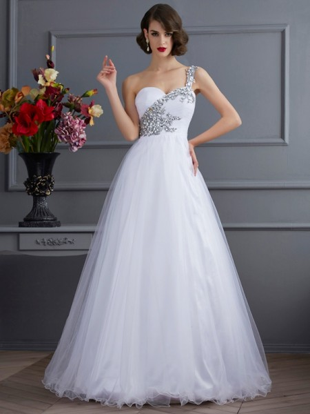 Ball Gown One-Shoulder Sleeveless Floor-length Elastic Woven Satin Dresses with Beading