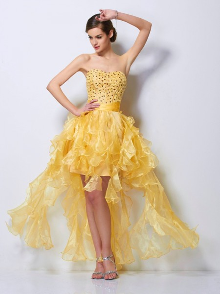 A-Line/Princess Sweetheart Sleeveless Tulle Asymmetrical Dresses with Beading