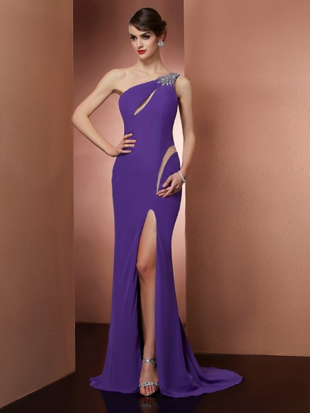 A-Line/Princess One-Shoulder Sleeveless Sweep/Brush Train Chiffon Prom/Evening Dresses with Beading
