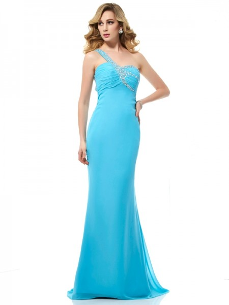 Trumpet/Mermaid Chiffon One-Shoulder Sleeveless Sweep/Brush Train Dresses with Beading