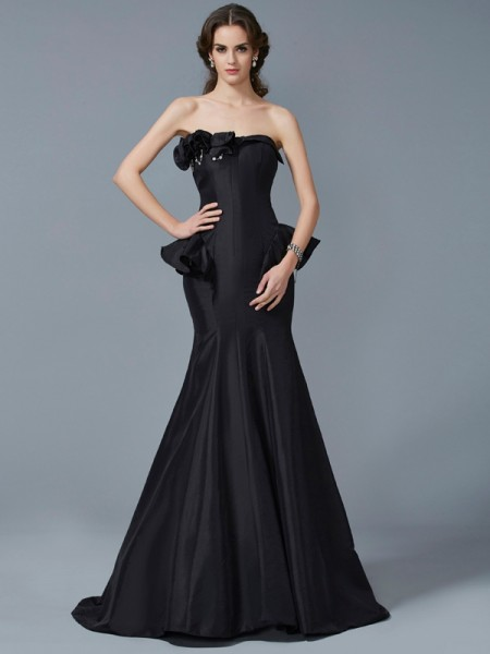 Trumpet/Mermaid Strapless Sleeveless Sweep/Brush Train Taffeta Dresses with Ruffles