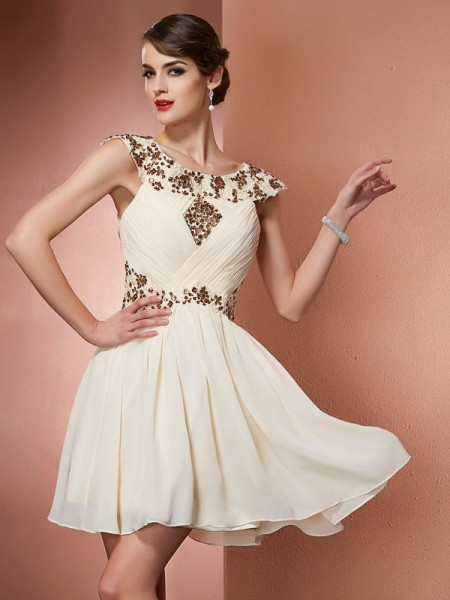 A-Line/Princess Scoop Sleeveless Chiffon Short Dresses with Applique with Beading