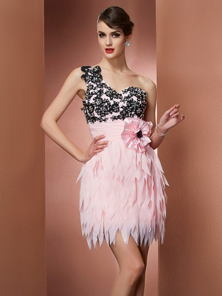 A-Line/Princess One-Shoulder Sleeveless Chiffon Short Cocktail/Homecoming Dresses with Hand-Made Flower