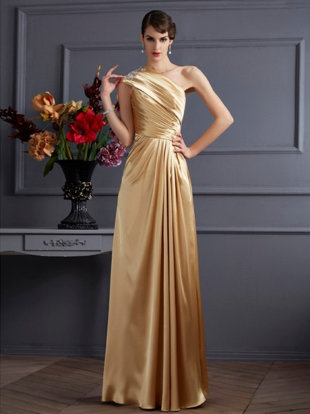 A-Line/Princess One-Shoulder Sleeveless Elastic Woven Satin Long Dresses with Beading