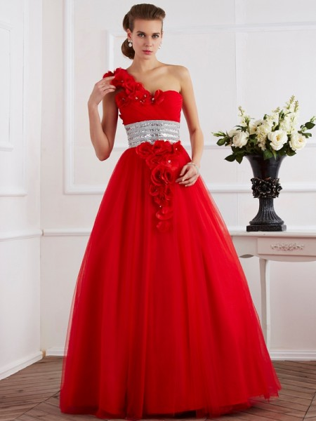 Ball Gown One-Shoulder Sleeveless Net Long Dresses with Hand-Made Flower