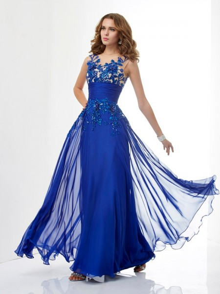 A-Line/Princess High Neck Sleeveless Floor-Length Chiffon Dresses with Applique with Beading