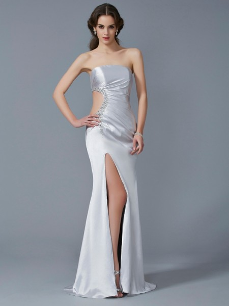 Trumpet/Mermaid Strapless Sleeveless Elastic Woven Satin Sweep/Brush Train Dresses with Beading