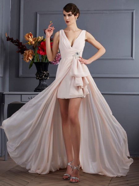 A-Line Straps Sleeveless Chiffon Court Train Prom/Evening Dresses with Beading