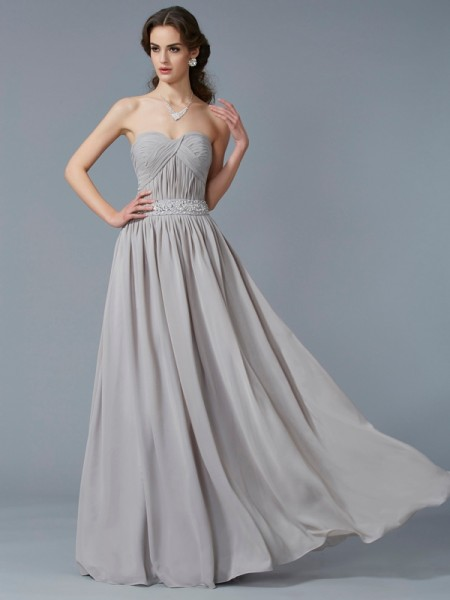 A-Line Sweetheart Sleeveless Floor-Length Chiffon Dresses with Beading