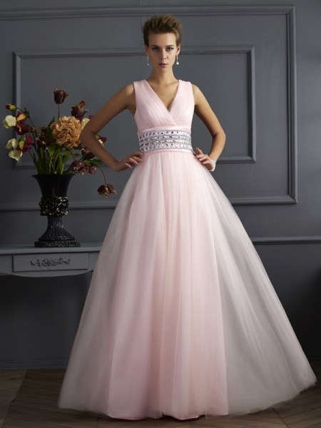 Ball Gown V-neck Sleeveless Floor-Length Net Dresses with Beading